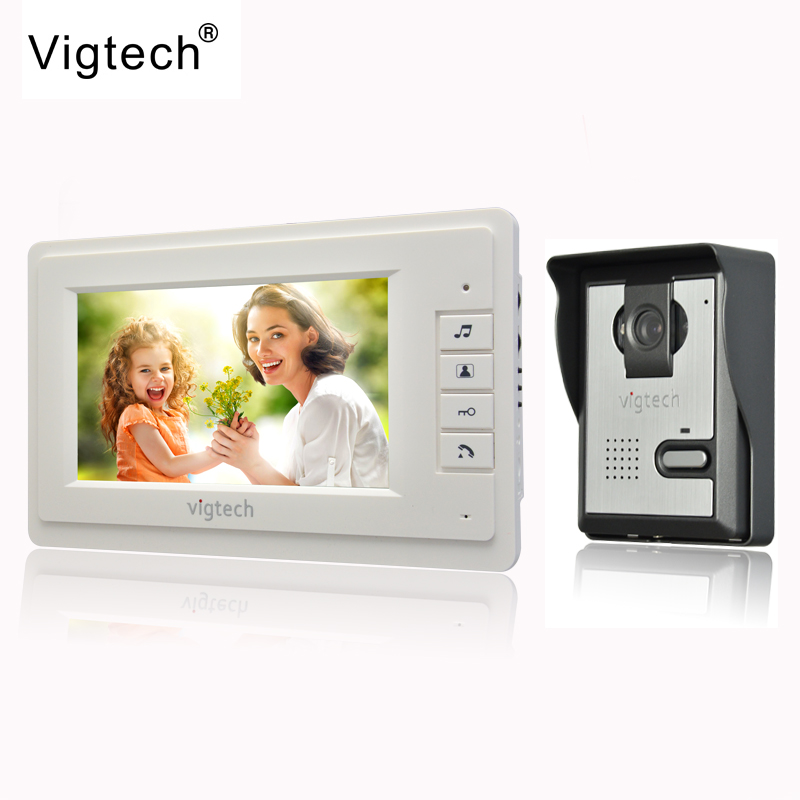 Vigtech 7 inch LCD Color Video door phone Intercom System Weatherproof Night Vision Camera Home Security FREE SHIPPING jeruan home wired cheap 4 3 inch lcd color video door phone doorbell intercom system ir night vision camera free shipping