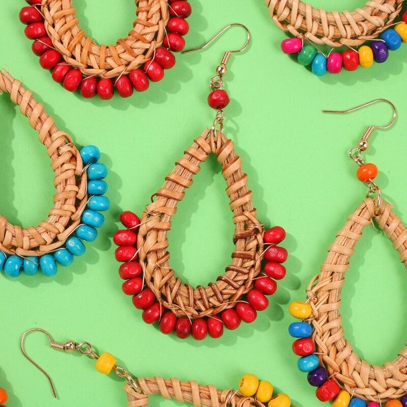 Lalynnlys Bohemian Straw Rattan Weave Dangle Earrings Vintage Colorful Bead Dangle Earrings For Women Party Ear Jewelry E61721