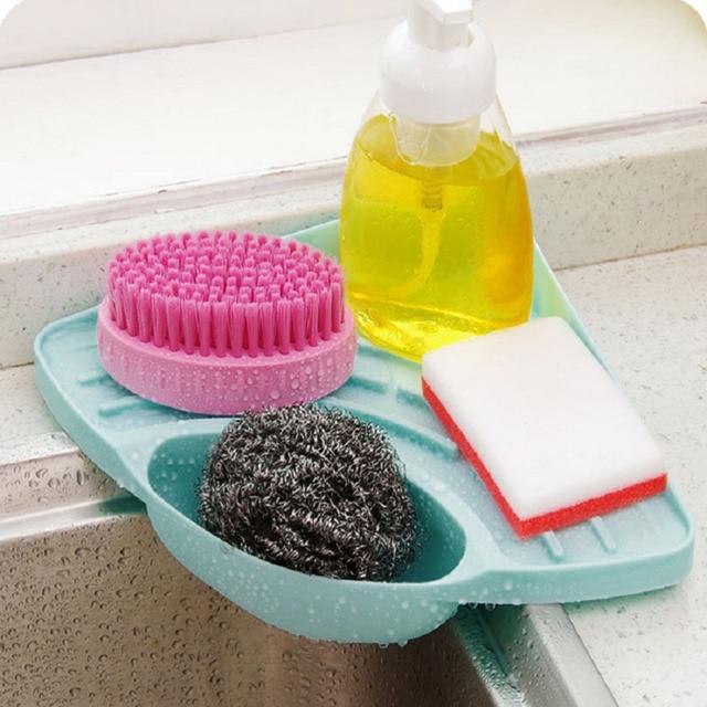 1pc 3colors Racks Sink Corner Sponge Holder Kitchen Soap Dish Wall