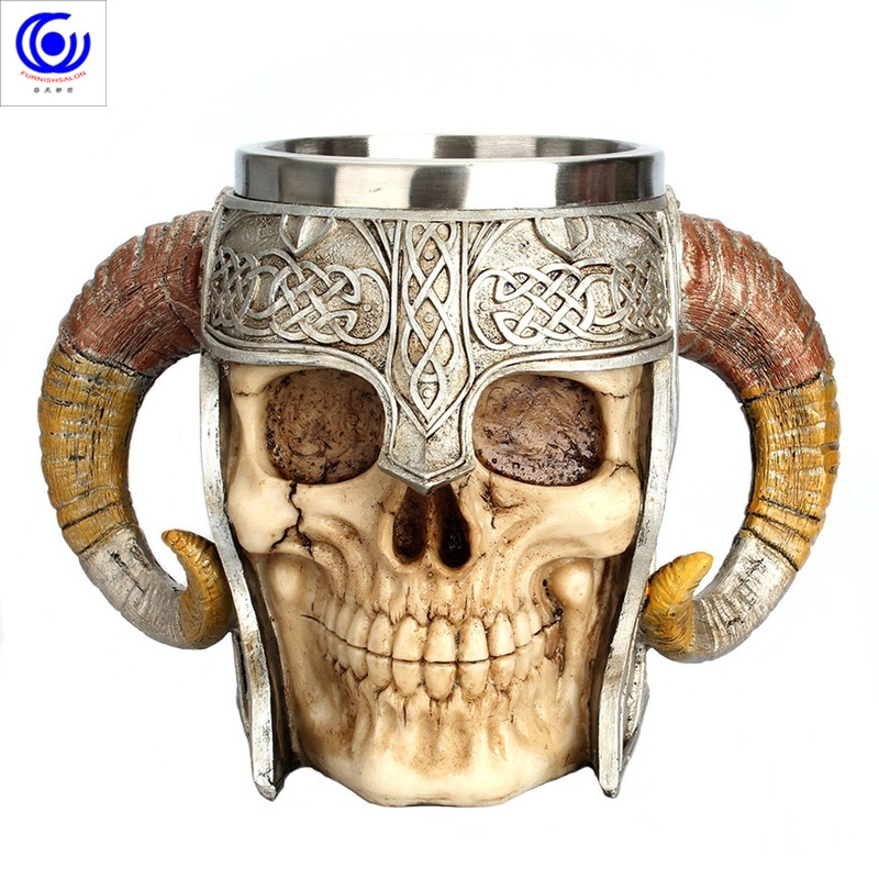 Stainless Steel Skull Mug Horn Warrior Beer Stein Coffee Tea Cup Halloween Bar Drinkware Gift
