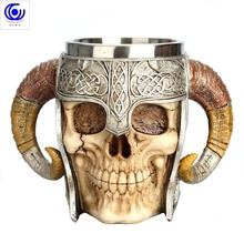 цена на Stainless Steel Skull Mug Horn Warrior Beer Stein Coffee Tea Cup Halloween Bar Drinkware Gift