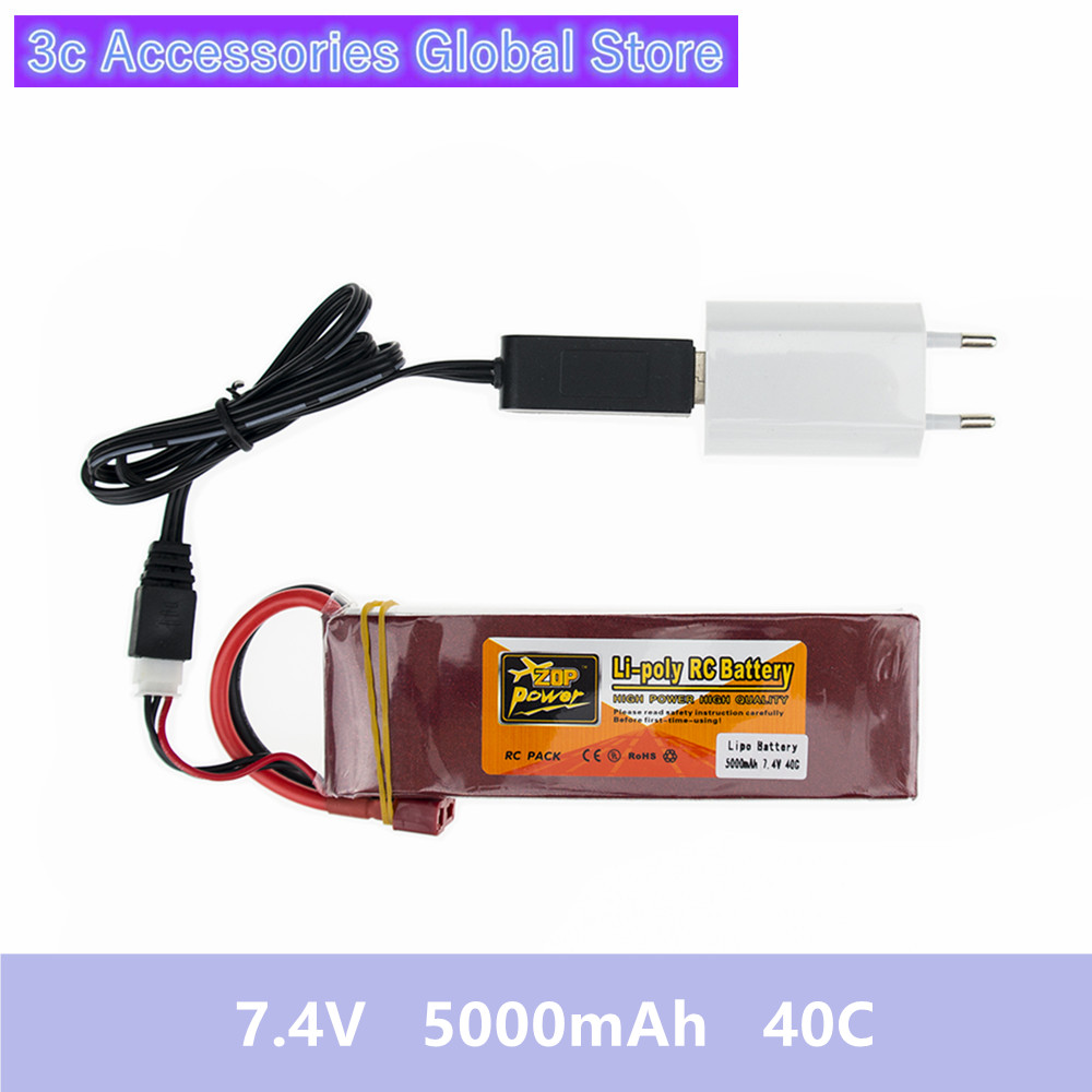 Lithium Drone Batteria 5000mah Lipo 7.4 V Battery 40C XT60 T Plug With USB Charger 3in1 Cable Set For RC Quadcopter Helicopters