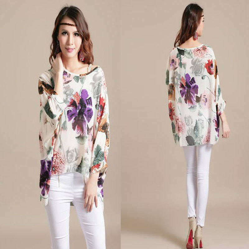 2016 New Fashion Women Chiffon Blouses Flower Printed Batwing Sleeve Shirts Ladies Casual Tops Plus Size Long Blouse - JYC Online store