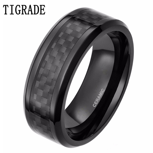 Affordable 8mm Men S Black Ceramic Ring Wedding Band With Red