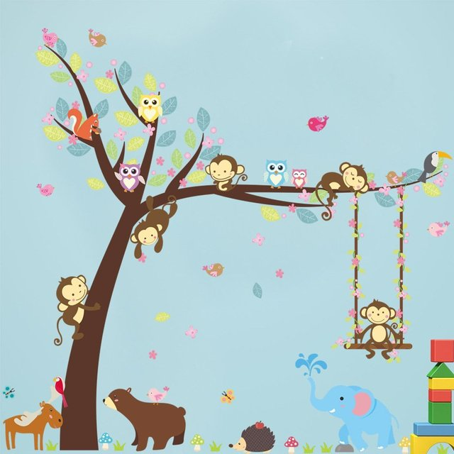 Cartoon Forest Animal Monkey Owls Hedgehog Tree Swing Nursery Wall Stickers Removable Wall Decals for Kids  sc 1 st  AliExpress.com : forest animals nursery wall decals - www.pureclipart.com