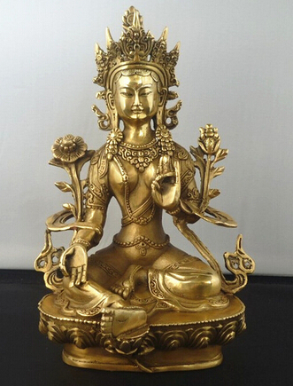 Copper Brass CHINESE crafts Asian 8.5 Delicate Chinese Tibetan Buddhism Green Tara God Godness Kwan-yin Buddha StatueCopper Brass CHINESE crafts Asian 8.5 Delicate Chinese Tibetan Buddhism Green Tara God Godness Kwan-yin Buddha Statue