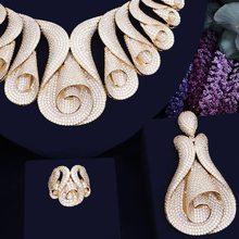 GODKI 62MM פרח סופר יוקרה נשים ניגרי חתונה Naija הכלה מעוקב Zirconia שרשרת טבעת צמיד עגיל דובאי