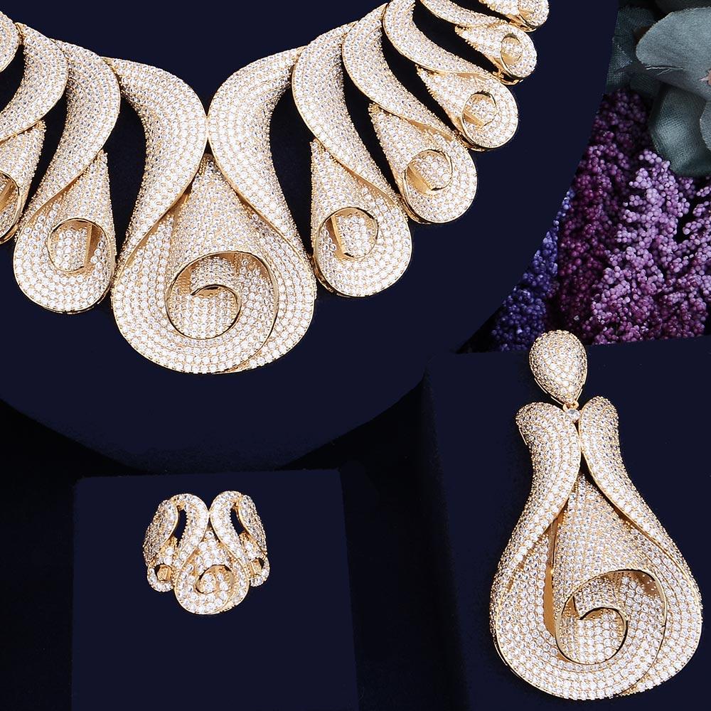 Godki 62mm 꽃 슈퍼 럭셔리 여성 나이지리아 결혼식 naija 신부 큐빅 지르코니아 목걸이 반지 팔찌 귀걸이 두바이 쥬얼리 세트-에서보석 세트부터 쥬얼리 및 액세서리 의  그룹 1