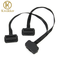 Free DHL/Fedex 100pcs Flat+Thin As Noodle OBD 2 OBD2 16 Pin ELM327 Male To Dual Female Y Splitter Elbow Extension Cable 30cm