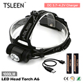TSLEEN 1000lm led head torch waterproof bicycle camp lamp micro usb charging light 18650 Cell Operated +Red Signal Light