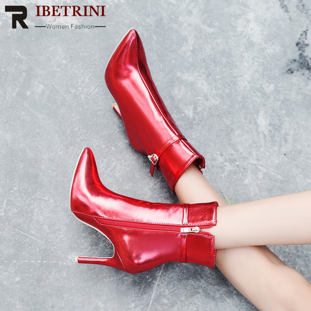 RIBETRINI New Arrival Sexy Patent Leather Ankle Boots Pointed Toe Super Thin High Heels Women Ankle Boots Plus Size 33-47 new arrival 2016 small yards 32 33 side zipper thin heels plus size 40 43 female boots free shipping