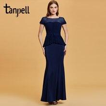 Женское длинное вечернее платье русалка темно синее с коротким