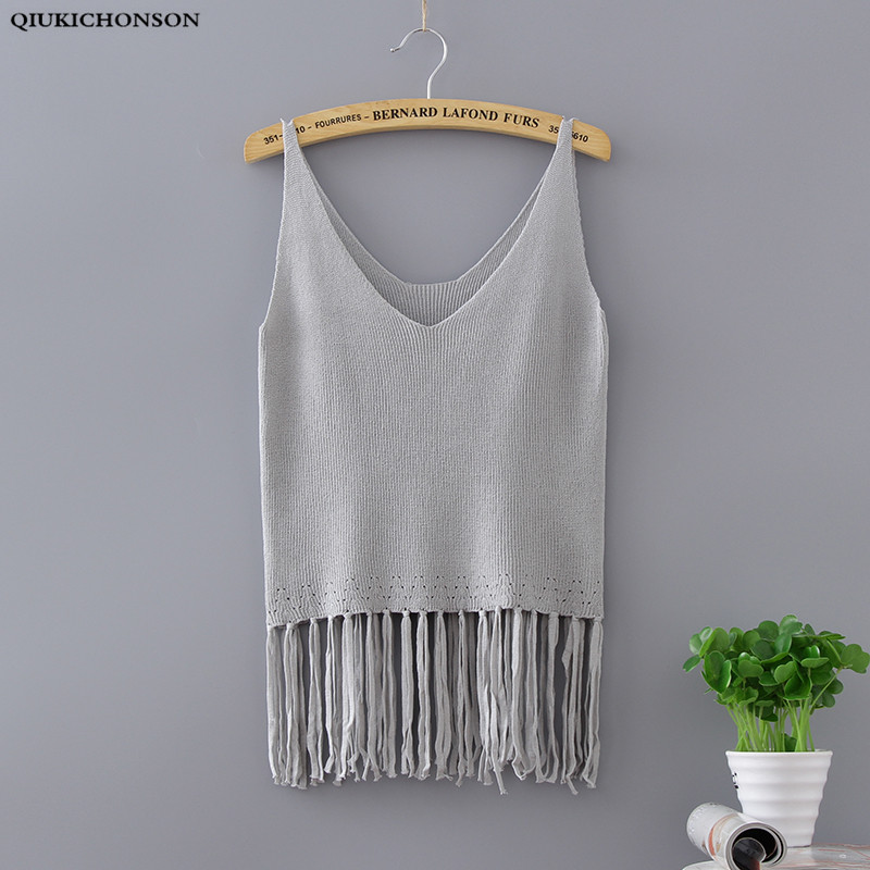Qiukichonson 2019 Summer Sexy Tassel Knitted Tanks Women Pure Cotton Vest Short Elastic Fabric V Neck Loose Tops White Black