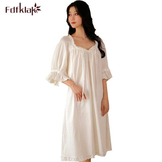 6a5897338f Fdfklak Large size loose night dress women half-sleeve cotton nightgowns  women s sleepwear nightshirt princess long nightdress
