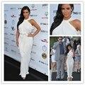 MZMSRHS Sexy Kim Kardashian Vestido Branco de Chiffon Até O Chão Da Sereia Da Celebridade Vestidos 2017 Halter vestidos de festas
