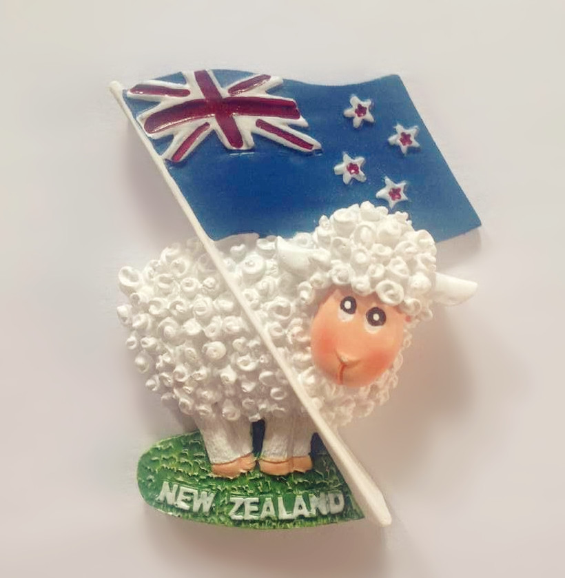 Cute Sheep <font><b>New</b></font> <font><b>Zealand</b></font> Flag World Tourism <font><b>Souvenir</b></font> <font><b>Fridge</b></font> <font><b>Magnet</b></font> Creative Home Decortion Gift Refrigerator Magnetic Stickers image