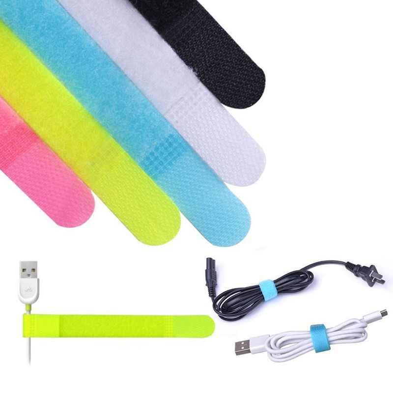 20pcs Multifuncional Cable Straps Hook And Loop Reusable Fastening Cable Ties (Random Color)