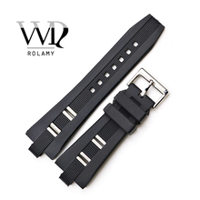 Rolamy 26x9mm Watch Band Strap Silicone RubberHigh Quality Waterproof Black Replacement Watchband Belt Wholesale