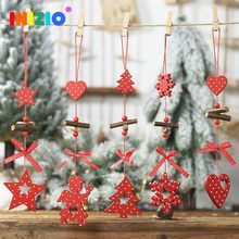 2019 New Year Christmas Wood Pendant Angel Snowflake Heart Pentagram Tree Pattern Home Party Decoration Christmas Tree Xmas(China)