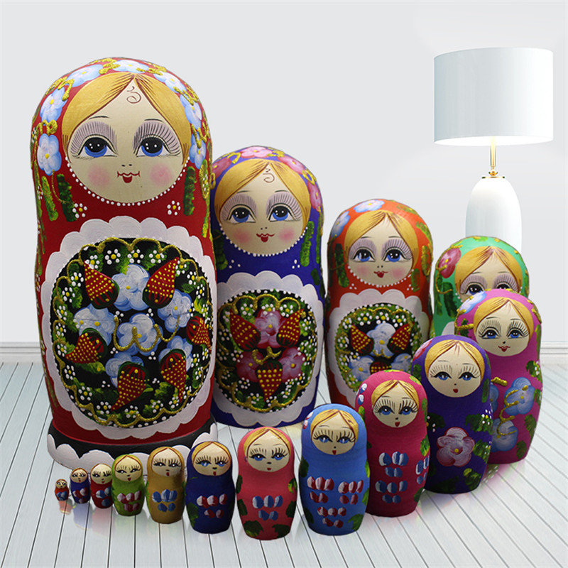 15pcs Russian Dry Basswood Nesting Dolls Traditional Hand-Painted Matryoshka Dolls DIY Education Wooden Ethnic Doll Toys L30 lego education 9689 простые механизмы