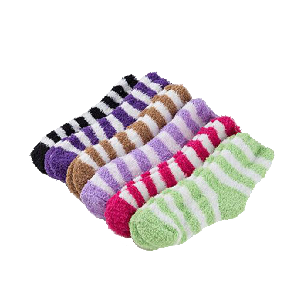 7878cfaba239e 2017 Soft Floor Home Lady Winter Gift Women Bed Socks Stripe Fluffy Warm  Winter Thick Candy Color Casual Socks