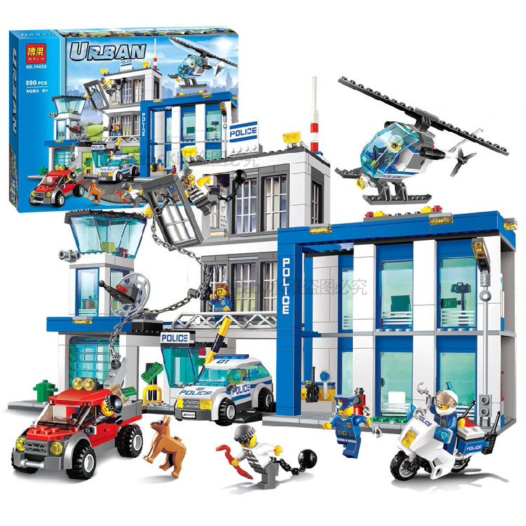Pogo Lepin 890pcs Station Helicopter Jail Cell Urban Police City Compatible 60141 Building Blocks Bricks Toys Compatible Legoe dhl lepin city series 02020 police station 02038 city square educational building blocks bricks model toys 60141 60097