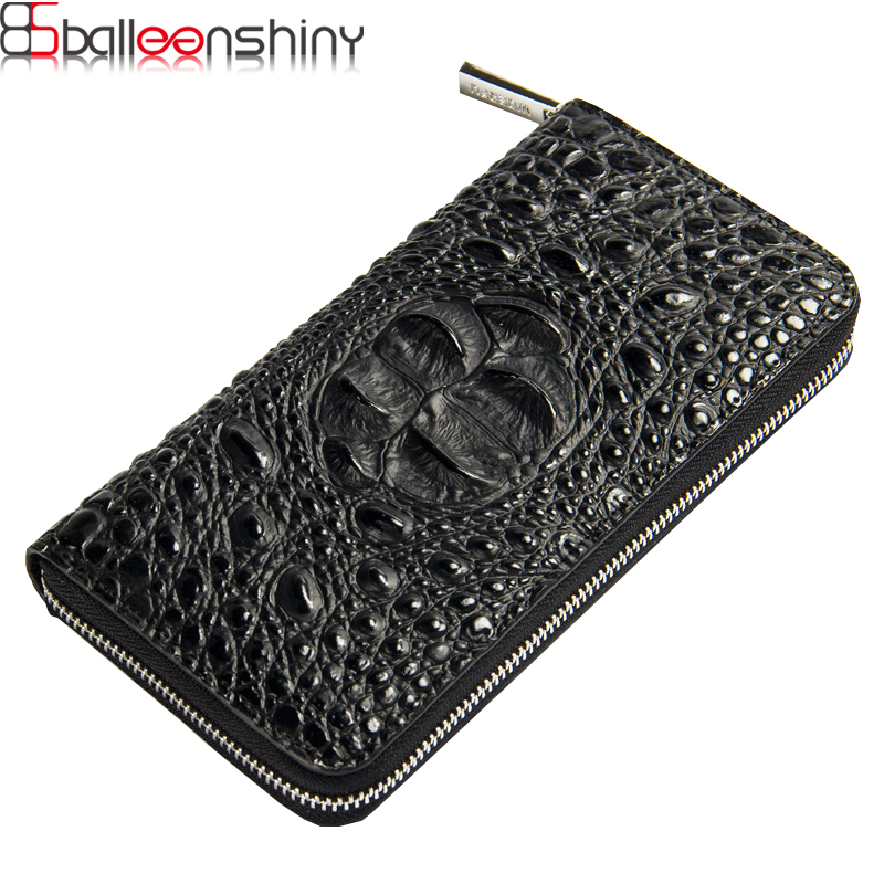 BalleenShiny European Super Popular Mens Wallet Long Zipper Handbag Alligator bag Large Capacity Purse Protable Card bag