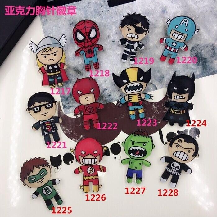 New Arrival Avengers Cartoon Acrylic Brooch Jewelry Batman <font><b>Spiderman</b></font> <font><b>Soft</b></font> Sister Badge Jewelry <font><b>Accessories</b></font>