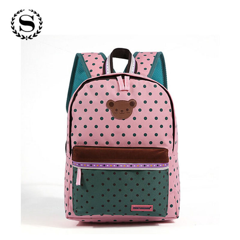2017 Children School Bags Cute Bear Dot Star Mochila Infantil Escolar Girls Boys Backpack Kid Girl School Book Shoulder Bag 351t