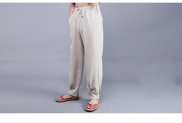 d1c237e565b 2019 Summer Chinese Style Men S Solid Color Casual Linen Pants Male ...