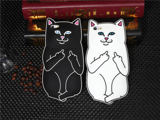 san francisco d42eb ef2df US $4.26 |For iPhone 5 5S Case Cute 3D Cartoon Ripndip Lord Nermal Pocket  Cat Silicone Rubber Case For iPhone 5S Cover Cases-in Fitted Cases from ...