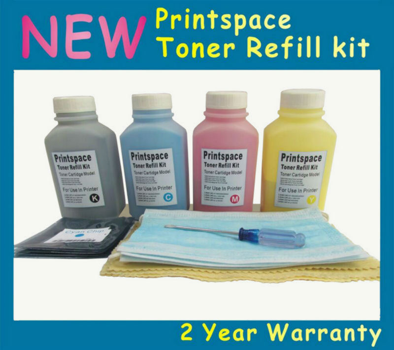 4x NON-OEM Toner Refill Kit + Chips Compatible for Konica Minolta Magicolor 2500 2500W 2530DL 2550DN 2550EN KCMY 1kgx4bags kcmy color toner powder compatible for konica minolta magicolor 2300 2300w 2350 2350en refill color toner
