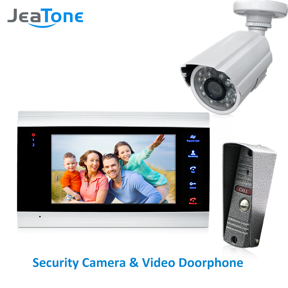 JeaTone 4 Wired Video Door Phone Intercom Doorbell Home Security System Door Speaker Call Panel+7 inch Monitor +1200TVL Camera jeatone 7 lcd monitor wired video intercom doorbell 1 camera 2 monitors video door phone bell kit for home security system