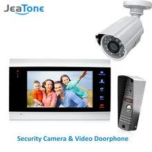 JeaTone 4 przewodowy wideo telefon drzwi domofon system alarmowy do domu drzwi głośnik Panel połączeń + 7 cal Monitor + 1200TVL kamery