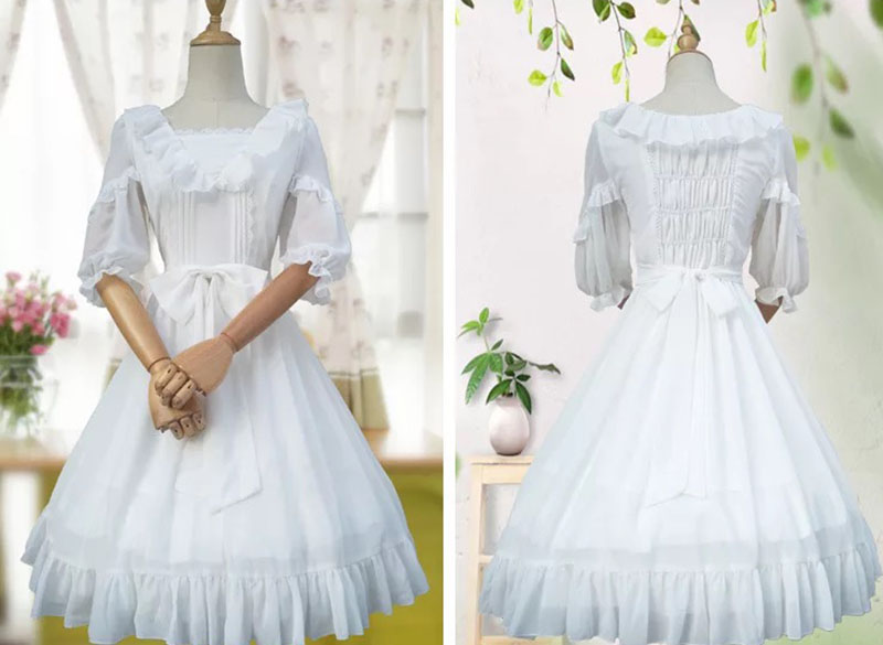 Summer Ladies Deluxe White Chiffon Lolita Lace Midi Dress 1/2 Sleeves Loose Bow Wrinkled Prom Party Ruched Dress For Women
