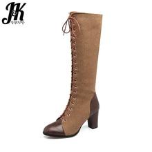 J&K Big Size 33-48 Women's Boots Fashion Cross tied Side Zipper Knee High Boots Women's Shoes Winter Boots Thick High Heels 2017