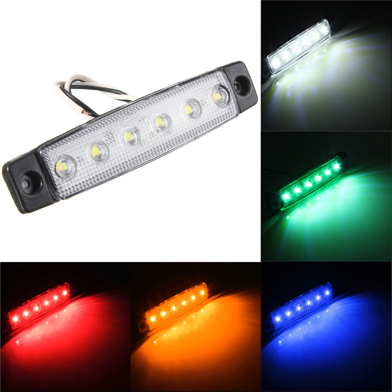 2pcs 6 SMD LED Auto Car Bus Truck Trailer Lorry Side Marker Indicator Light Side Lamp Red Blue Yellow Green Car Styling 12V 24V 10pcs 6 led red white green blue yellow amber clearence car truck bus lorry trailer side marker indicators light lamp 12v 24v