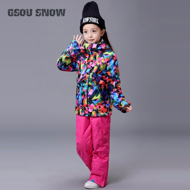 e451a11ffc0a 2018 Kids Ski Suit Windproof Jacket Pant Waterproof Breathable Boys ...