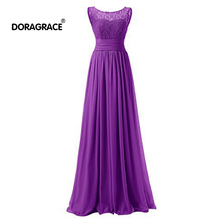 Doragrace robe de soiree Simple Elegant A Line Lace Chiffon Long Evening Dress Women Dresses