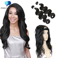 Ivy Dear Recommend Pre Plucked 360 Lace Frontal With 2pcs Brazilian Virgin Hair Weave Body Wave 360 Lace Closure with Bundles
