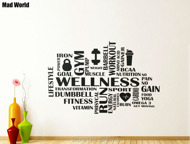 Mad World Gym Wellness Word Cloud Fitness Wall Art
