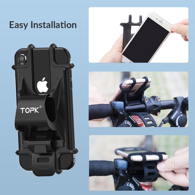 TOPK Bicycle Phone Holder for iPhone Samsung Xiaomi Huawei Universal  Adjustable Silicone Bike Phone Holder GPS Mount Bracket