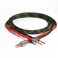 99.99% OFC Oxygen Red copper HIFI amplifier to Speaker Cable 24K gold plated CMC banana plug Audio Line 2pcs