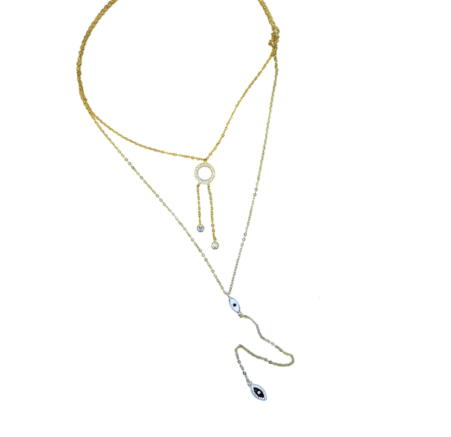 High quality new choker Y lariat double layer gold color jewelry round circle enamel eye long chain statement necklace