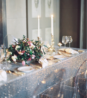 8FT Table Silver Sequin Tablecloth Wedding Cake Tablecloth Square Sequins Table Linen Wedding Sequin Table Linens