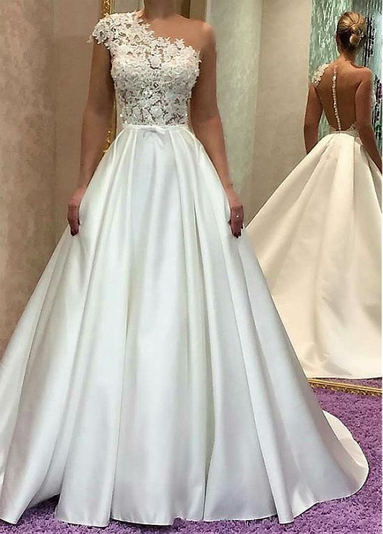 One-shoulder Vestido De Noiva 2019 Muslim Wedding Dresses Ball Gown Satin Lace Beaded Boho Dubai Arabic Wedding Gown Bridal
