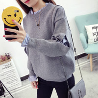 2019 Women Autumn And Winter Pullover Fashion Warm O Neck Casual Loose Sweater Knitted Tops