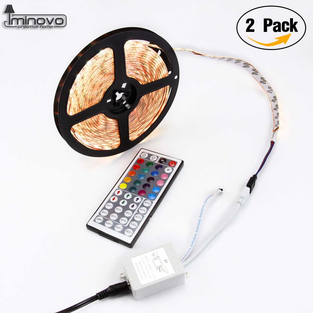 IMINOVO 2PCS 5M Led RGB Strip 300Leds 5050SMD DC 12v Waterproof Lighting For Home Outdoor Garden Decor With Mini IR Controller 0 9m smd 3528 90 leds waterproof led rope light festival lighting