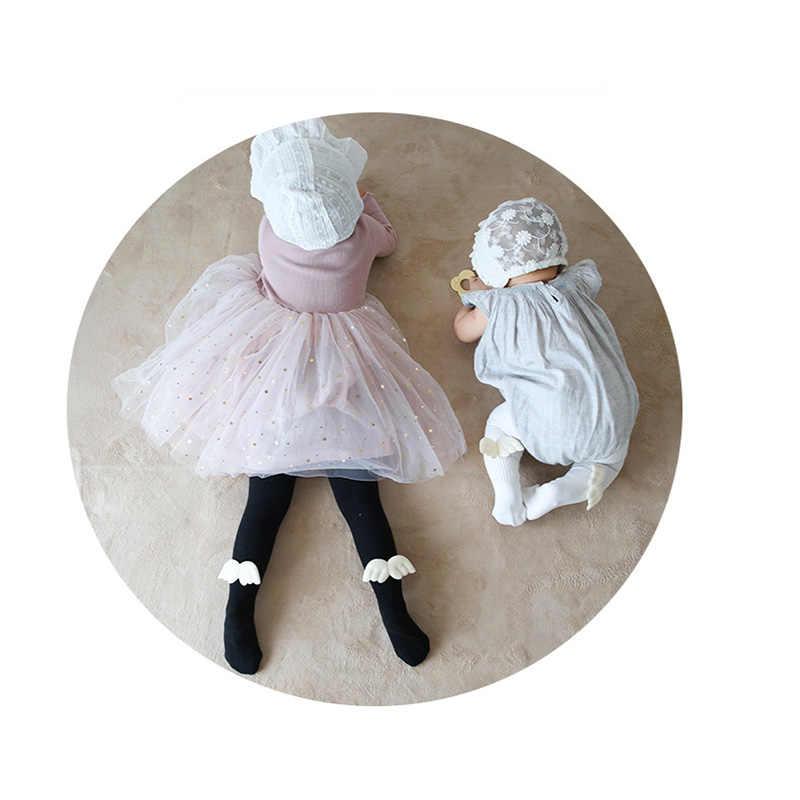 Gzhilovingl outono inverno infantil bebê meninas anjo de algodão adorável asa meia-calça quente criança crianças com nervuras legging malha meias