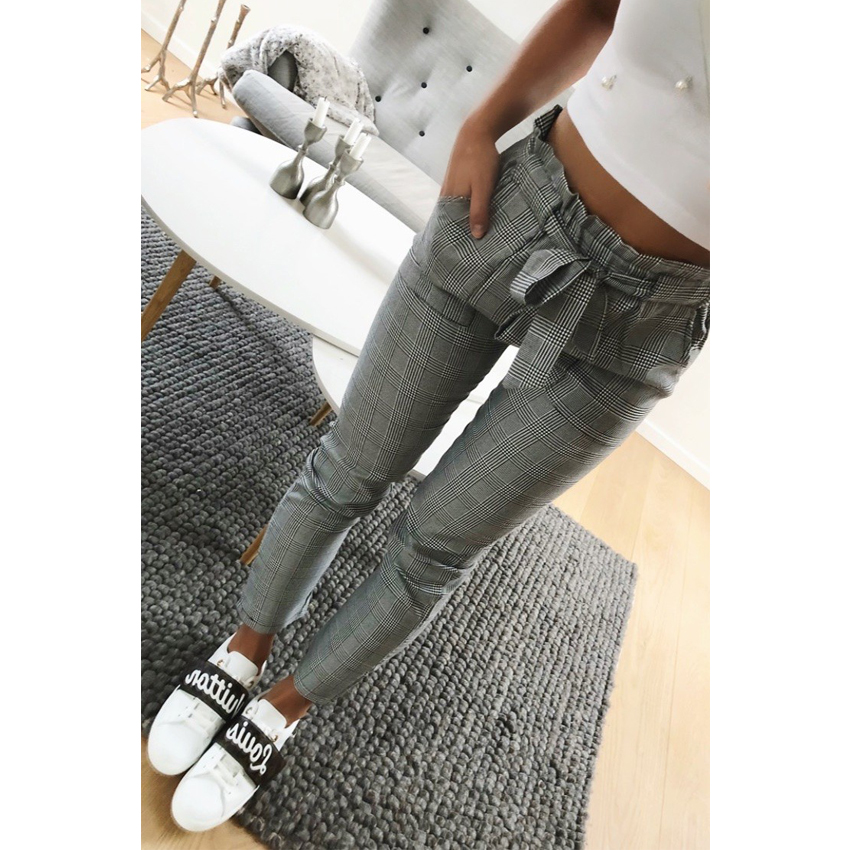 Spring Vintage gray grid casual pants women pants female streetwear trousers